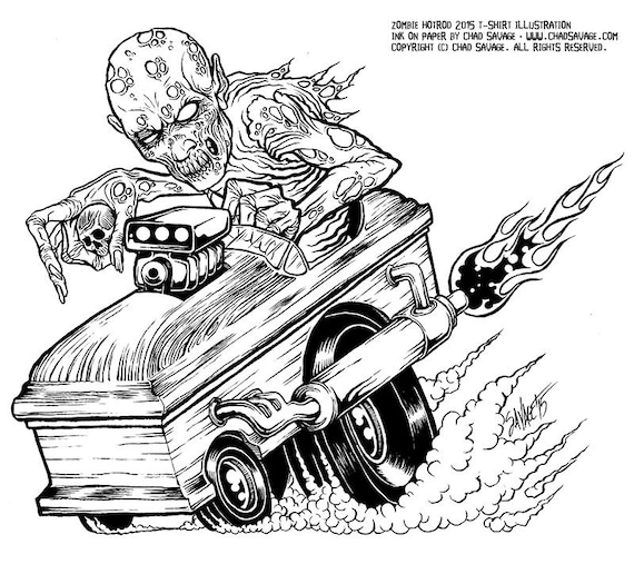 Hot Rod Monster Art Engines Colouring Pages Dap Of Ratfink