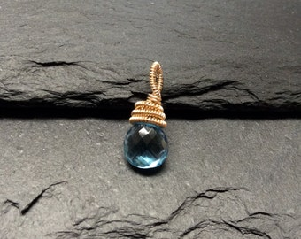 Swiss Blue Topaz and Gold Filled Wire Wrapped  Charm