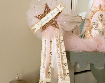 Sparkling Star. Birthday Girl Glass Glitter Star and Tulle Prize Ribbon Pin
