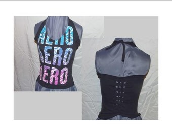 Halter Top, Corset Top, Aeropostle Upcycled T Shirt, Aero Recycled Clothing, Repurposed Fashion, Corseted Halter Top Size Small