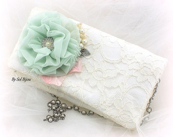 Ivory Purse, Pink, Mint, Clutch, Handbag, Vintage Wedding, Bridal Purse, Lace Purse, Pearl Strap,Mother of the Bride, Pearls, Crystals