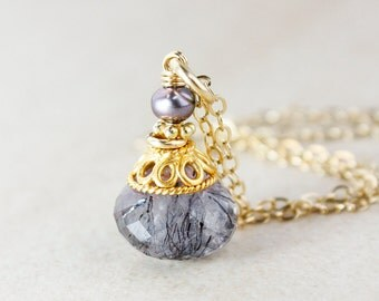 Purple Freshwater Pearl and Moss Amethyst Necklace - 14k Gold Filled