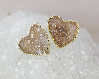 Light Brown Druzy Heart Studs - 14K Gold Filled - Minimalist Earrings