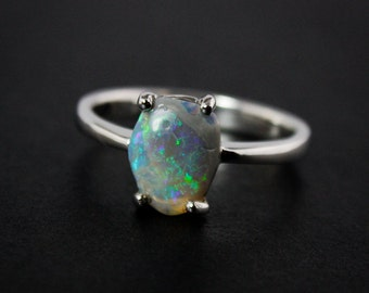 50% OFF SALE - Free Form Australian Opal Rings - Blue and Green - 925 Sterling Silver