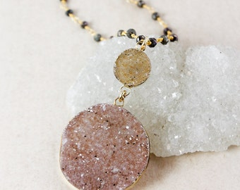 Druzy Pendant Necklaces – Choose Your Druzy – Black Pyrite Chain