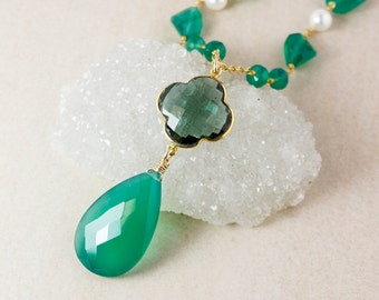 Green Onyx Teardrop Necklace – Teal Quartz Clover – Green Onyx Chain