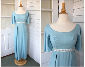Blue Empire Waist Dress - Gown with Ribbon Trim and Bell Sleeves- Vintage 1960s 60s