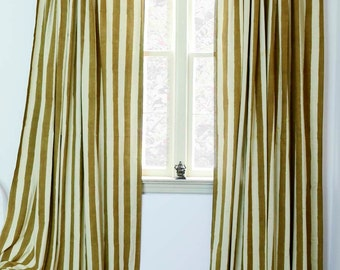 "Gold Stripe window curtains window treatment curtain ONE panel - 57""w x 84""L/96""  Hand Block Printed with Natural dyes, Cotton *ON SALE *"