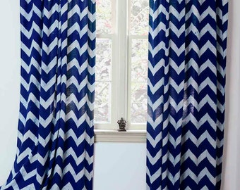 "Chevron Window Curtain, Window Treatment  Indigo Zig Zag - ONE panel 44""w x 84""L /108""L - Block Printed with Natural dyes Cotton *ON SALE*"