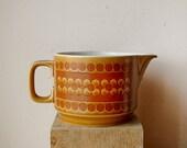 Vintage Ceramic Hornsea Saffron Creamer Orange Mod 1970s English Pottery with Flower Pattern.
