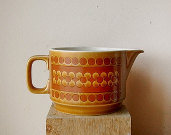 Vintage Ceramic Hornsea Saffron Creamer Orange Mod 1970s English Pottery with Flower Pattern.