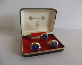 Vintage Tie Clasp and Cuff Links Mens Jewerly Bling