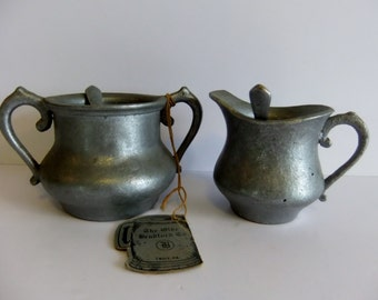 The Olde Bradford Co Metal Sugar and Creamer Pewter