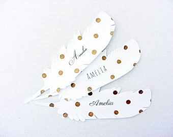 10 Gold polka dot feather wedding escort cards, place card, wedding seating card, hand gilded