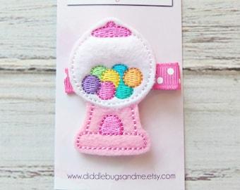 Pink Gumball Machine Hair Clip, Gumball Machine Hair Clip, Pink Gumball Hair Clip, Girls Hair Accessory, Gumball Hair Clip, Candy Hair Clip