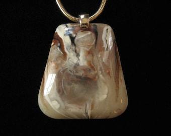 Marbleized Lucite Pendant, Large Mod 1970's Piece