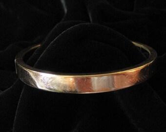 Brushed Gold Filled Bracelet, Hinged Bangle