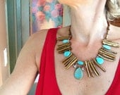 Turquoise Gold Coral Sticks Antique Gold Statement Necklace Bib
