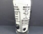 Drink Recipe Cocktail Shaker Vintage 1950s Mid Century Martini Shaker Bar Ware Retro Mad Men Barware