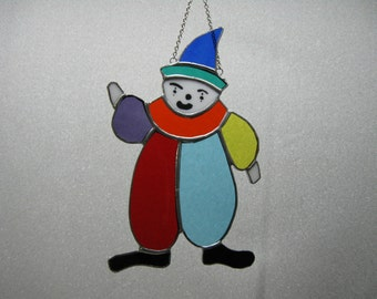 Clown Utilizing Colorful Stained Glass Suncatcher