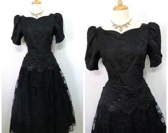 Vintage 80s Dress Black Sequin Lace Sweetheart Brocade Jessica McClintock Prom Evening Cocktail dress Size Medium