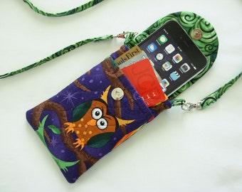Iphone 6 Case Smart Phone Gadget Case Detachable Neck Strap Quilted Owls Multi Color Purple Novelty Print