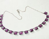 Free Shipping Sterling Silver Art Deco Edwardian Amethyst Glass Stunning Necklace