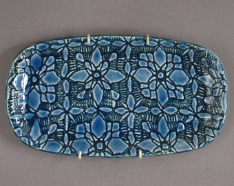 Ceramic platter - Glossy, Blue, Decorative