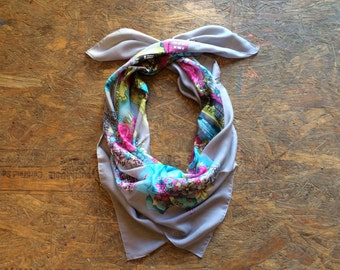 Buy 1 + Get 1 FREE = Lake Misty Scarf, Light Grey Pink Turqouise Green Scarf, Light Weight, 100% Cotton Scarves, Gift Ideas for Her Women