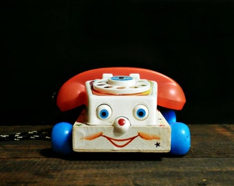 Vintage Fisher Price Telephone,Chatter Phone Toy, Telephone Pull Toy, Classic Fisher Price Phone, Retro Nursery Gift