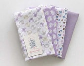 Pure Violet Floral on Cotton FAT Eighth set of 4, U251