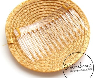 10cm Artificial Straw Fascinator Hat Base with Comb - Mustard