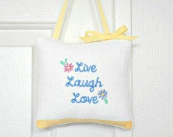 Door Hanger Pillow Live Laugh Love Script White Periwinkle Blue Pink Purple Yellow Decorative Repurposed