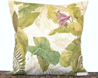 Tropical Leaves Pillow Cover Cushion Green Beige Mustard Purple Floral Coastal Outdoor Indoor Decorative 18x18