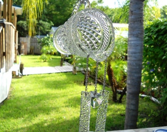 Vintage Depression Glass, Recycled Wexford Creamer Pitcher, Stained Glass Wind chimes, Crystal Heart Suncatcher, Original Glass Yard Art