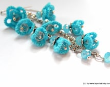 FORGET ME NOT - hand tatted lace cluster earrings - long - bridal - made to order