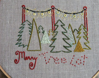 PDF Embroidery Pattern - Merry Tree Lot Christmas Holiday Embroidery Pattern Collection