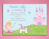 Princess Birthday Invitations with Pony and Castle PRINTED Invitations