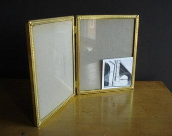 Double Frame Set - Two Hinged Vintage Gold or Brass Tone Picture Frames