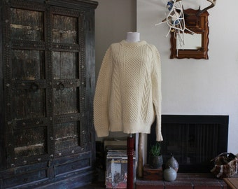 vintage made in Scotland wool knit fisherman sweater