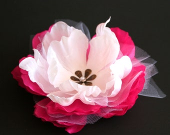 White and Fuchsia Bridal Peony Hair Clip - Enhanced with Vintage Inspired Pearl Detail