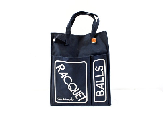 1970s Tennis Tote Bag Sports Gym Navy Blue Retro Racquetball Canvas ...