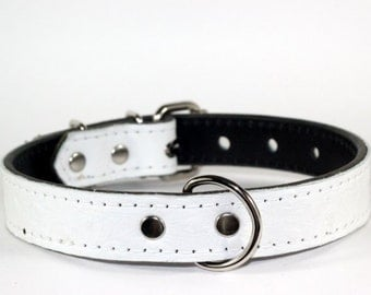 WHITE Leather Dog Collar - Leather Dog Collar - White Ostrich Leather Collar With White Stitching - (Made In USA)