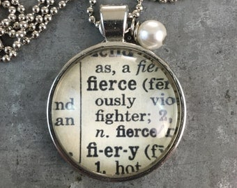 Dictionary Word Necklace - Fierce