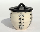 Black and White Small Lidded Pottery Jar with Striped Vertical Lines and Dots
