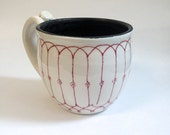 White and Black Pottery Coffee Mug with Red Fence Pattern