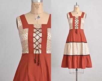 vintage 1970s sun dress • bohemian dress • drawstring tie dress • small