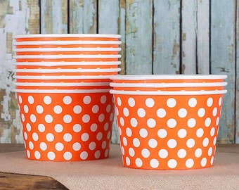 Large Polka Dot Orange Ice Cream Cups, Orange Ice Cream Bowls, Sundae Cups, Ice Cream Party Cups, 8 oz Paper Ice Cream Bowls (18)