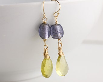 Yellow Citrine and Purple Foil Glass Earrings