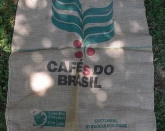 "Hessian Burlap Jute Coffee sack. Honduras, Brazil, Nicaragua. 6 available. 44"" x 29""  112 x 75 cm."